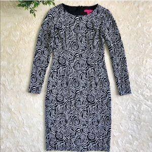 Betsey Johnson black white floral rose dress 10